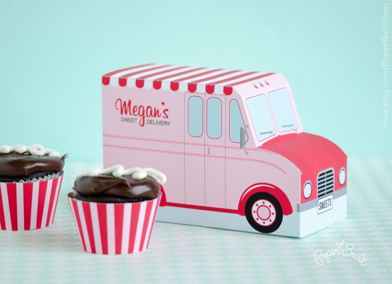 Bakery Cupcake Box Food Truck Valentines Day by PaperBuiltShop