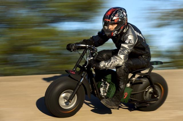 Mike Johnston Of Ontario Races His Military Themed Mini Bike In