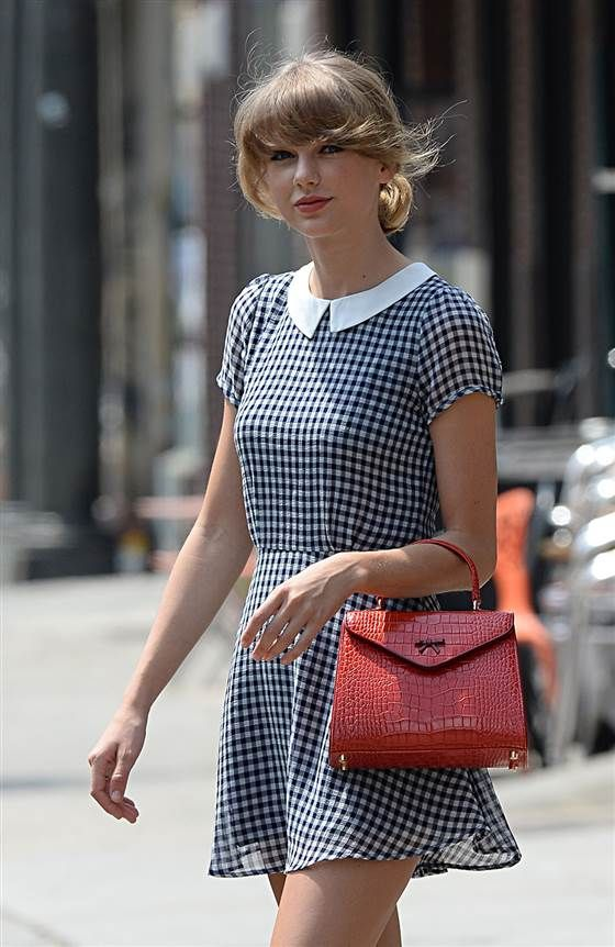 Taylor Swift interprets one of the big trends in SS'15-gingham in her usual contemporary-mixed-with-retro manner.