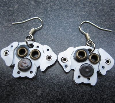 Great Dane Metal Rivet Earrings, Dog Park Publishing