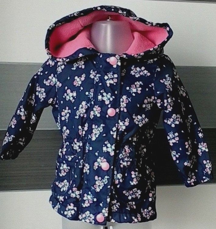 6abaf5291 Baby Girl Navy Floral Shower Coat jacket Fleece lining 9-12 months ...