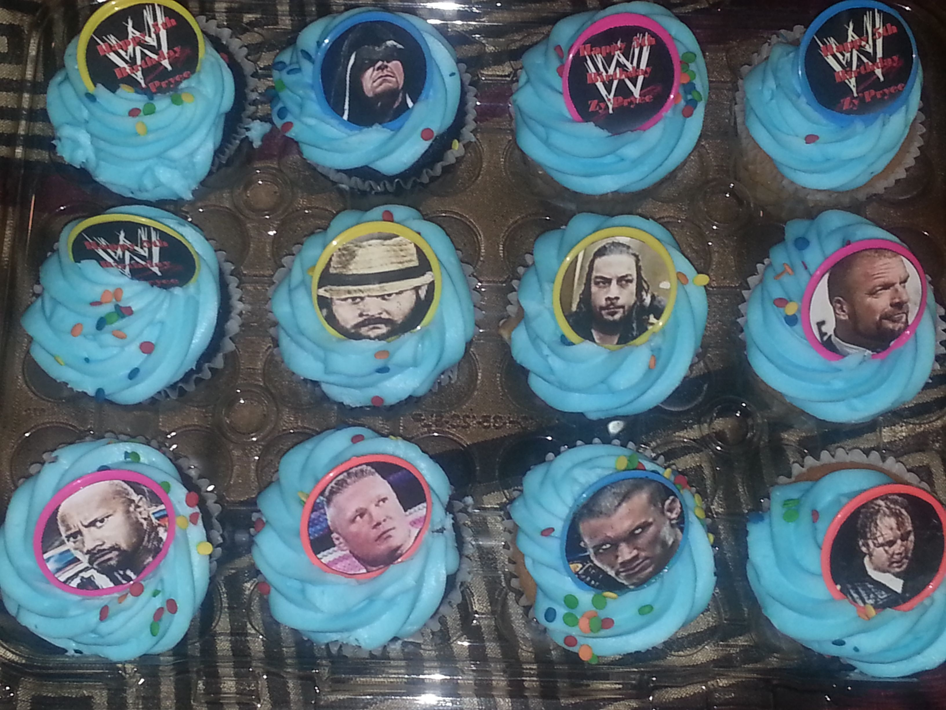Wwe Birthday Cup Cakes Handmade Ring Toppers By Me Wwe