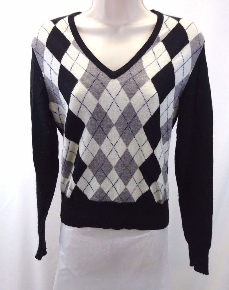 TWEEDS Black Gray White Blue Argyle Sweater Women's SZ Small V ...