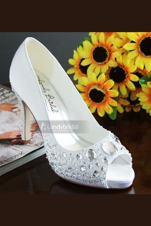 Peep Toe Mid Heel Satin Wedding Bridal Shoes With Rhinestones Us 117 00 Heel Height High Wedding Shoes Pumps Womens Wedding Shoes Wedding Shoes Mid Heel