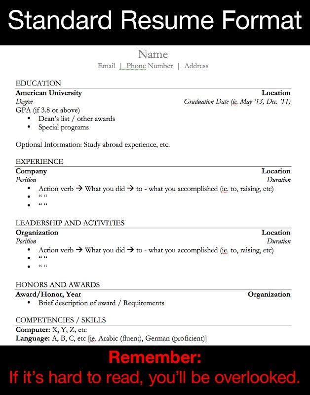 Standard Resume Format | [College] Trends | Pinterest | Helping