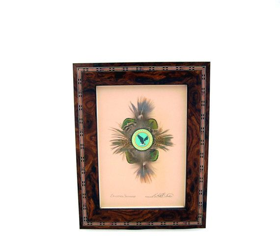 Vintage Framed Art Mixed Media Eagle Feathers by OceansideCastle, $48.99