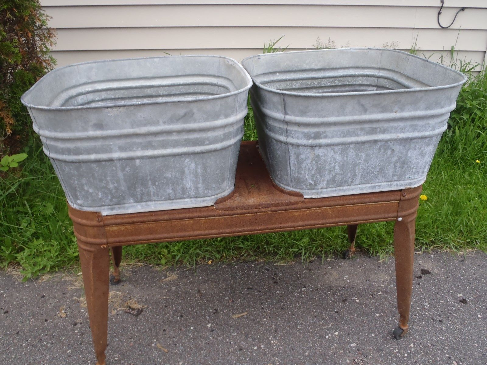 Vintage Wheeling Galvanized Steel Double Wash Tubs Planter Flower Pot Home Sink Galvanized Bathtub Bathtubs For Sale Wash Tubs