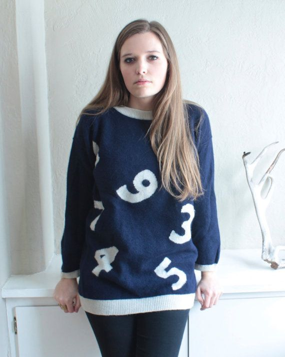 OverSized Sweater Vintage ADRIENNE VITTADINI Counting Digits - White NUMBERS Pullover long sleeved Jumper navy blue Lambswool Knit Tunic Top by HarlowGirls on Etsy