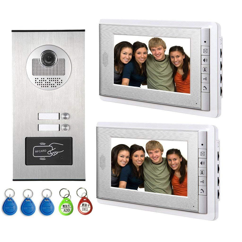 Amocam Video Intercom Entry System Wired 7 Inches Lcd Monitor Video Door Phone Doorbell With 5pcs Id Card For 2 Units Ap Video Door Phone Intercom Lcd Monitor