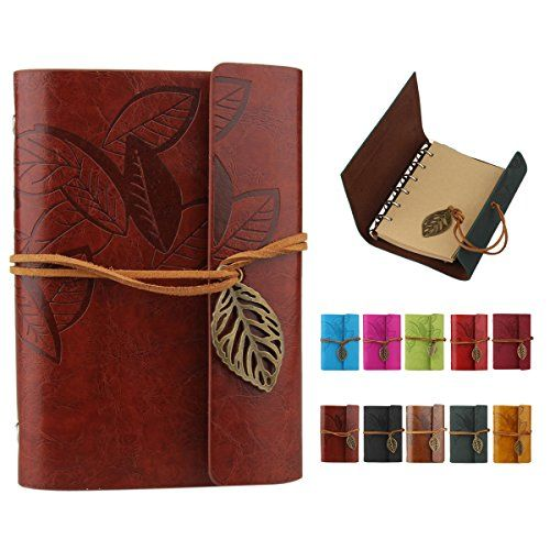 DEALPEAK Refillable Retro PU Leather Cover with Leaf Stri...