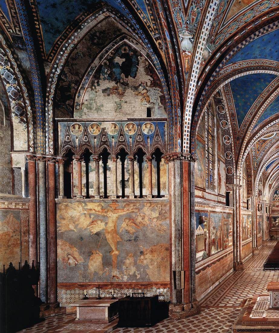 Vista del transepto Basilica San Francisco de Asís. Afrescos del Cimabue 1277 - 1280. Cenni di Pepo Cimabue (Florencia; 1240 - Pisa; 1302) fue un pintor y creador de mosaicos florentino. Se le considera iniciador de la escuela florentina del Trecento.