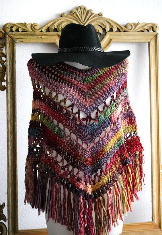 Crochet poncho, crochet shawl, crochet women ponchos, boho poncho ...