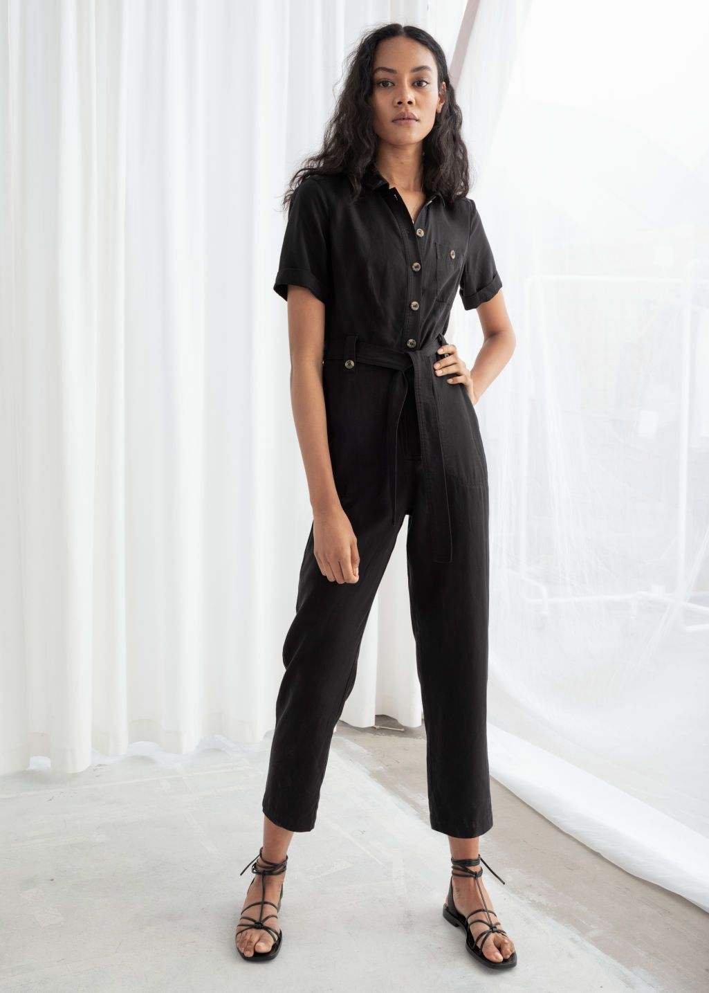 397b3be5cbb0 Belted Lyocell Jumpsuit - Black - Jumpsuits   Playsuits -   Other Stories