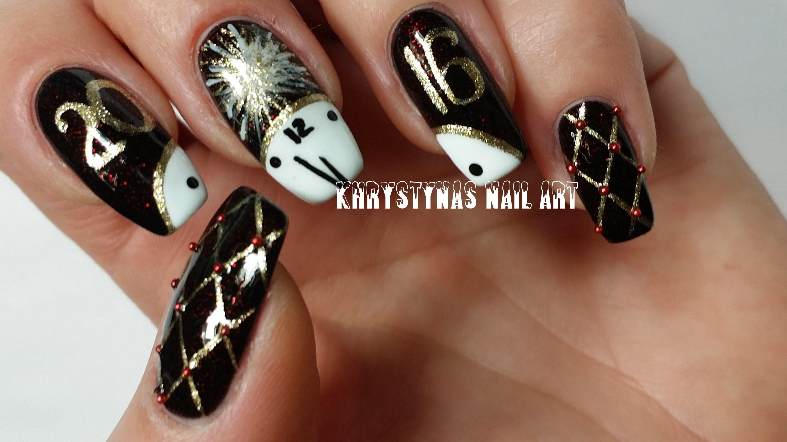 New Years Nail Art | Freehand DIY | nail art and more 1 | Pinterest