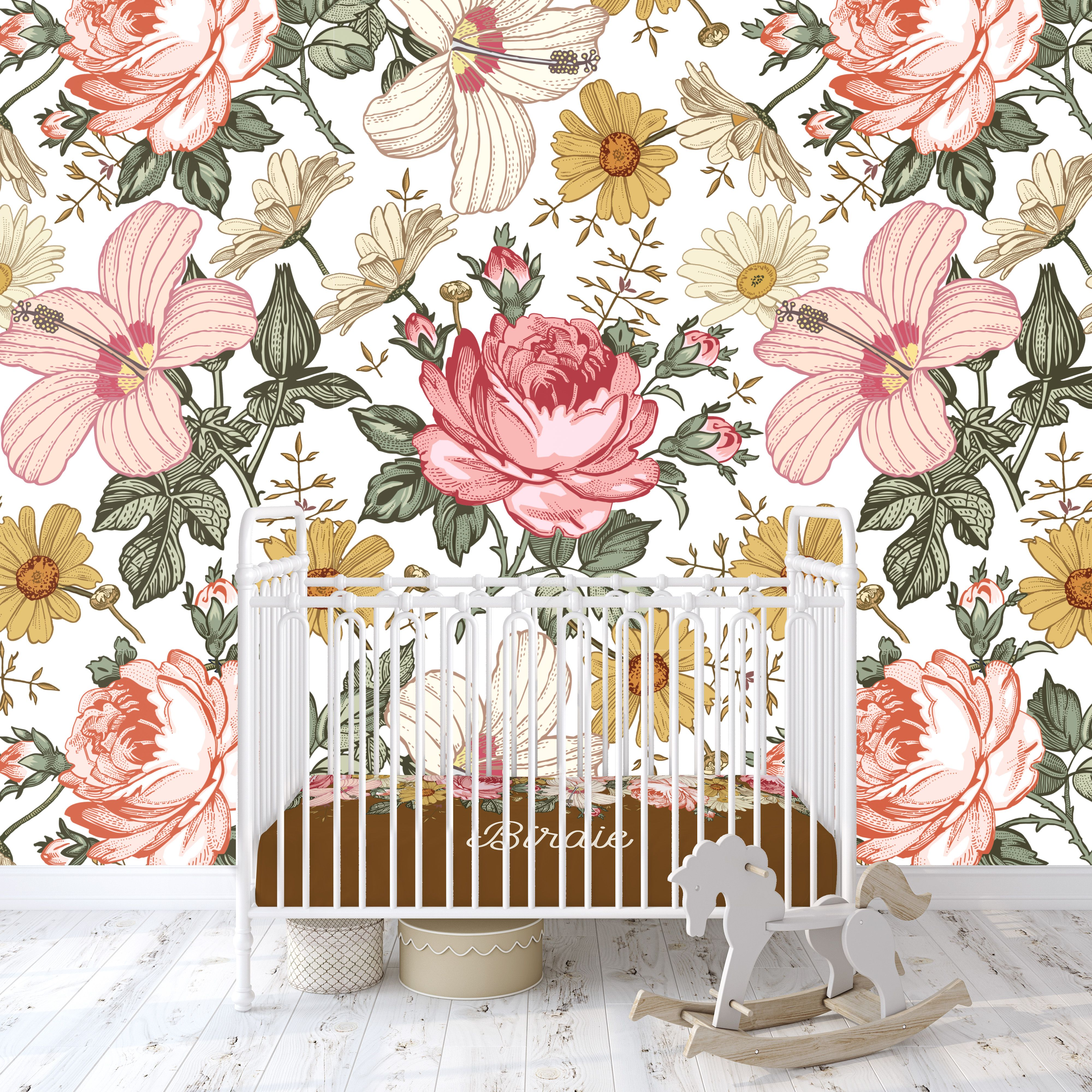 Birdie Wallpaper in 2020 Vintage floral wallpapers, Baby