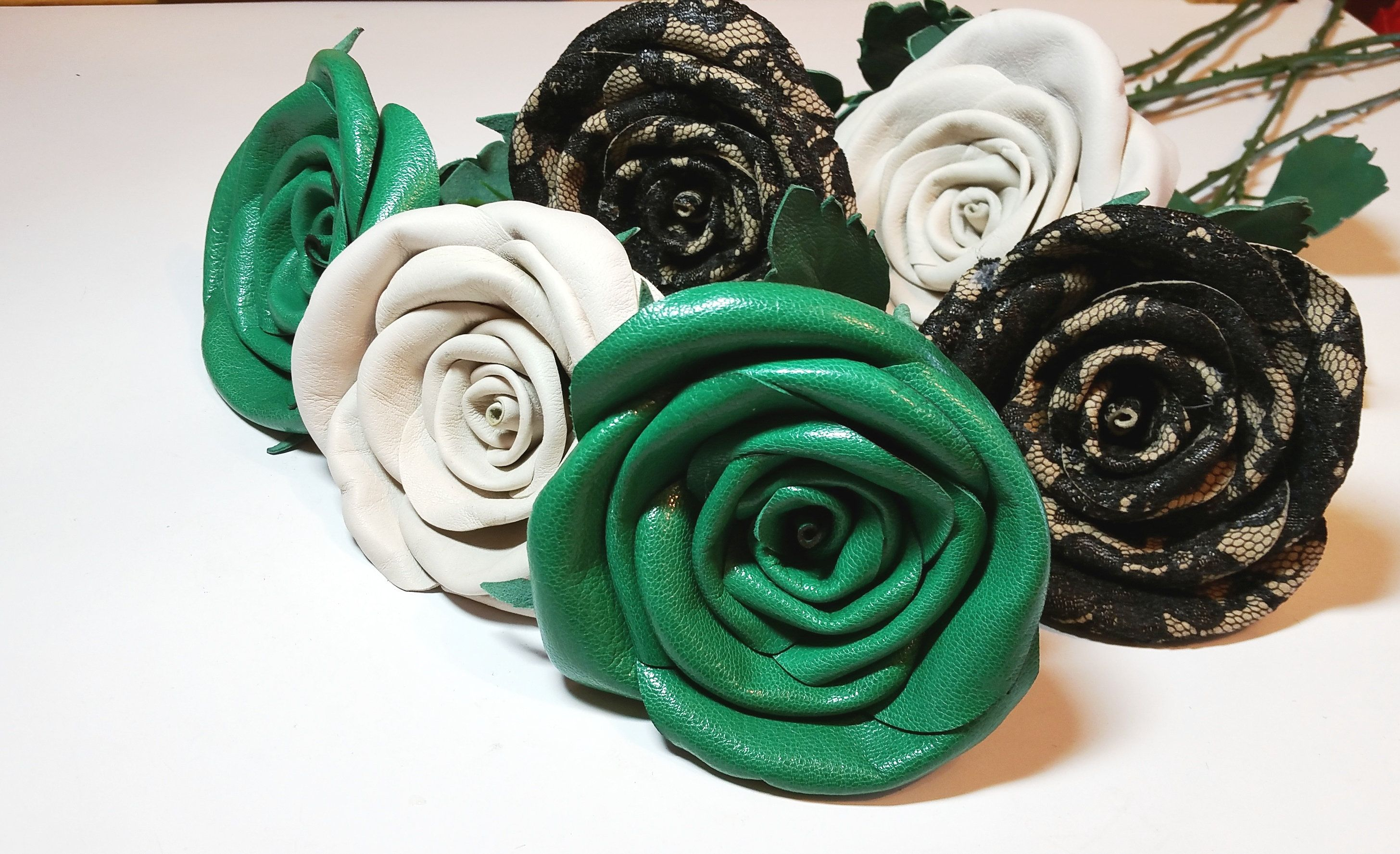 5893e3d7ac73 OOK leaher rose flower 3rd anniversary gift