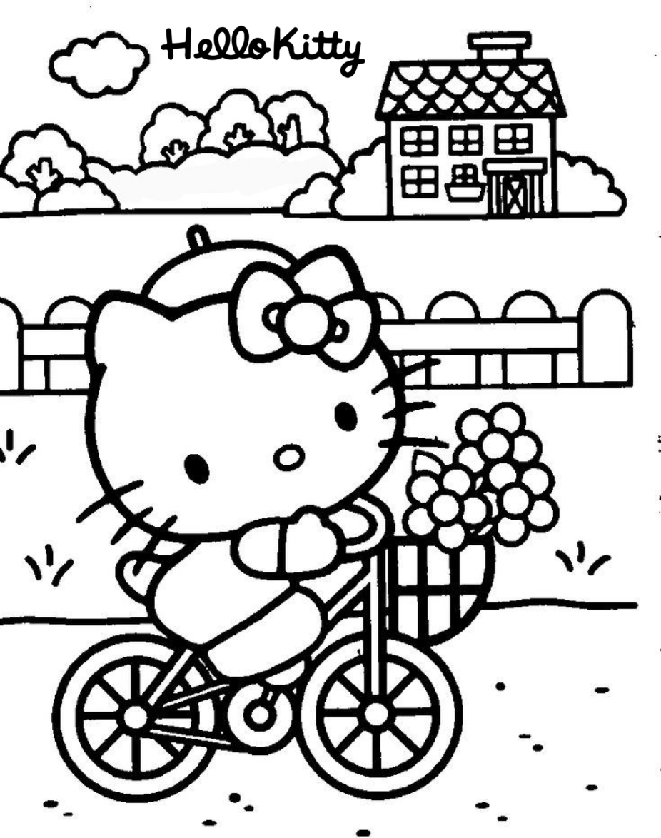 hello kitty riding her bike coloring page | hello kitty