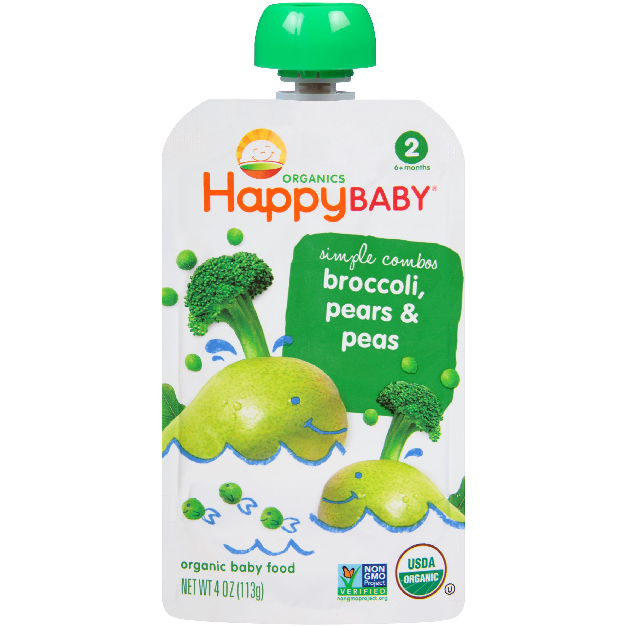 Happy baby simple combos broccoli pears peas stage 2