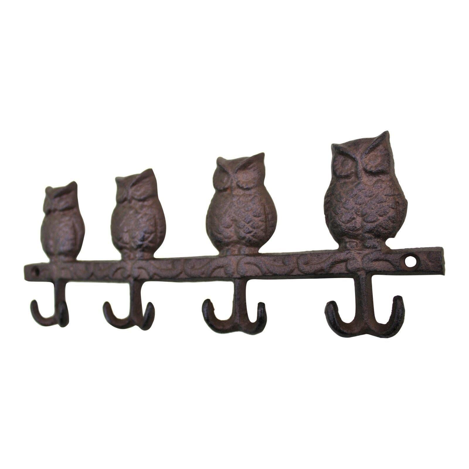 Rustic Cast Iron Coat Hooks, Owls
