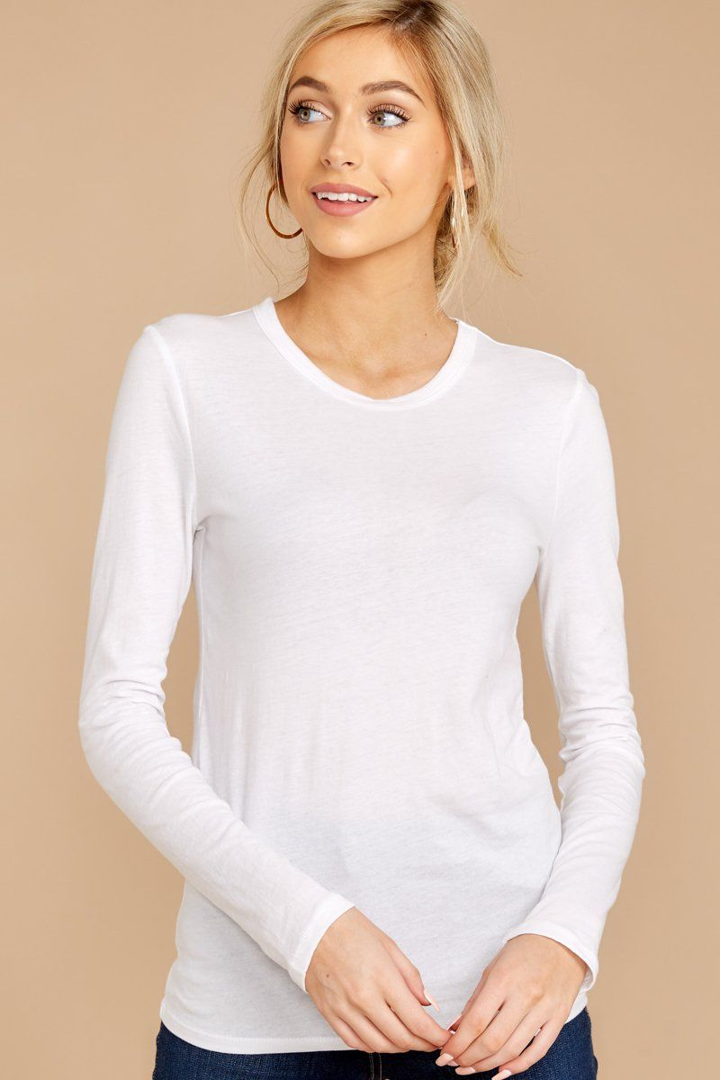 Basic white long sleeve tee fitted crew neck t shirt