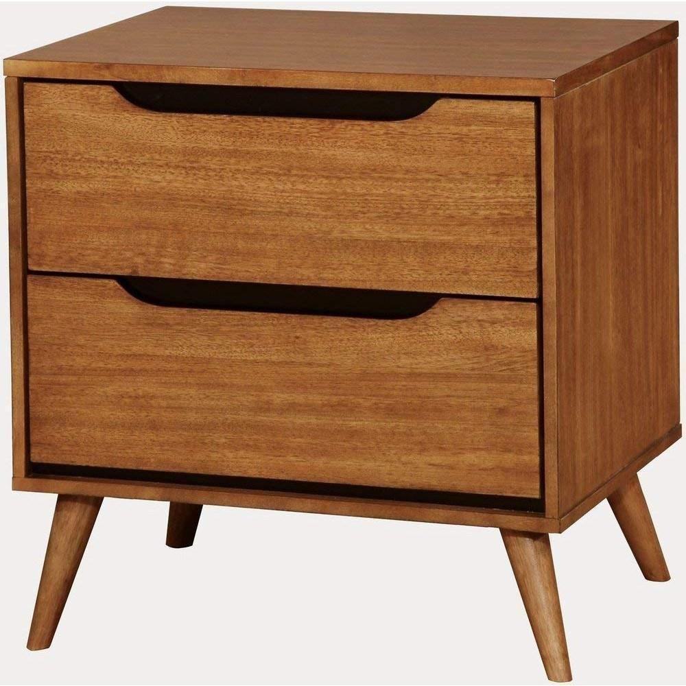 Benzara 2drawer brown midcentury modern nightstand oak