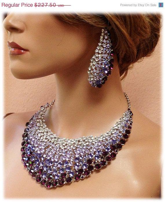 5ffbe9c8821a21 Bridal jewelry set , OOAK bib necklace earrings , Modern Contemporary purple  rhinestone necklace statement, crystal jewelry set