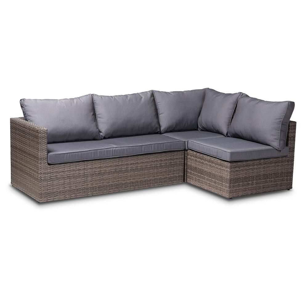 Photo of BAXTON STUDIO Pamela Modern & Contemporary Grey Upholstered & Brown Finished 4-Piece Woven Rattan Outdoor Patio Set