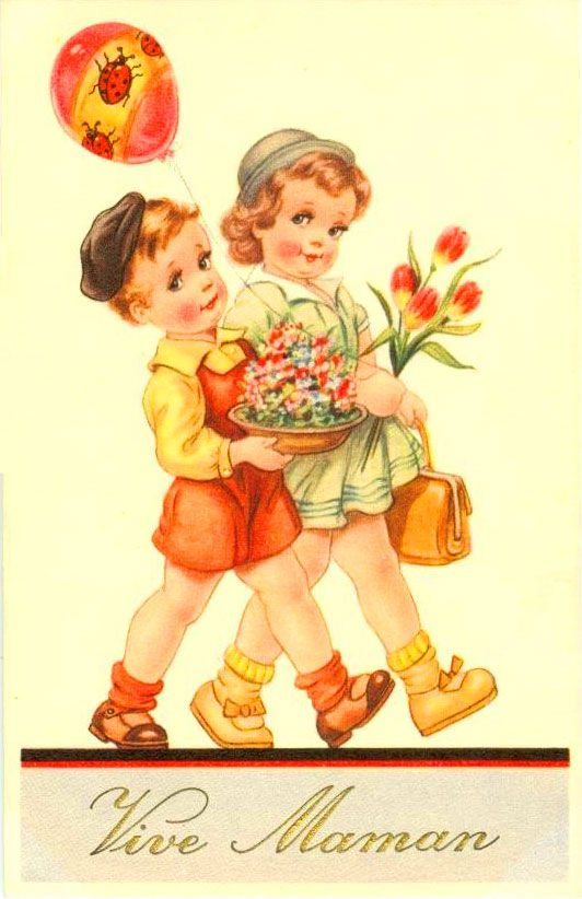 Vintage Mother's day card, 50s/60s