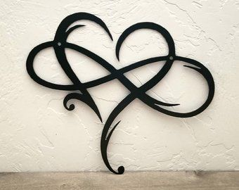 Infinity Sign Metal Wall Art Metal Infinity Symbol and Heart Rustic Modern Wall Decor Love Wall Sign Wedding Gifts Anniversary Gift Love #rusticmoderndecor