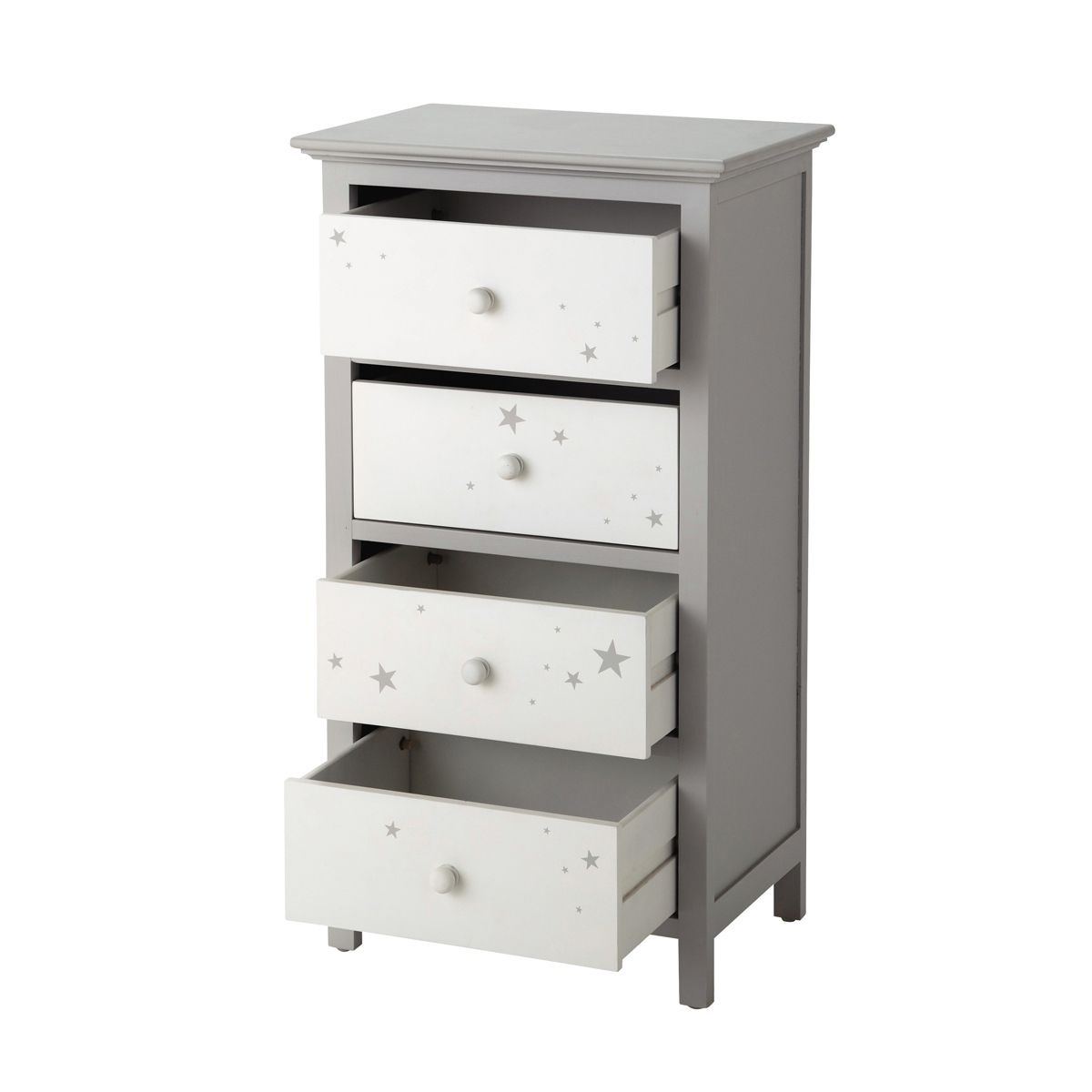 chiffonnier en bois gris l 46 cm chiffonnier rangement enfant et chiffonnier blanc. Black Bedroom Furniture Sets. Home Design Ideas