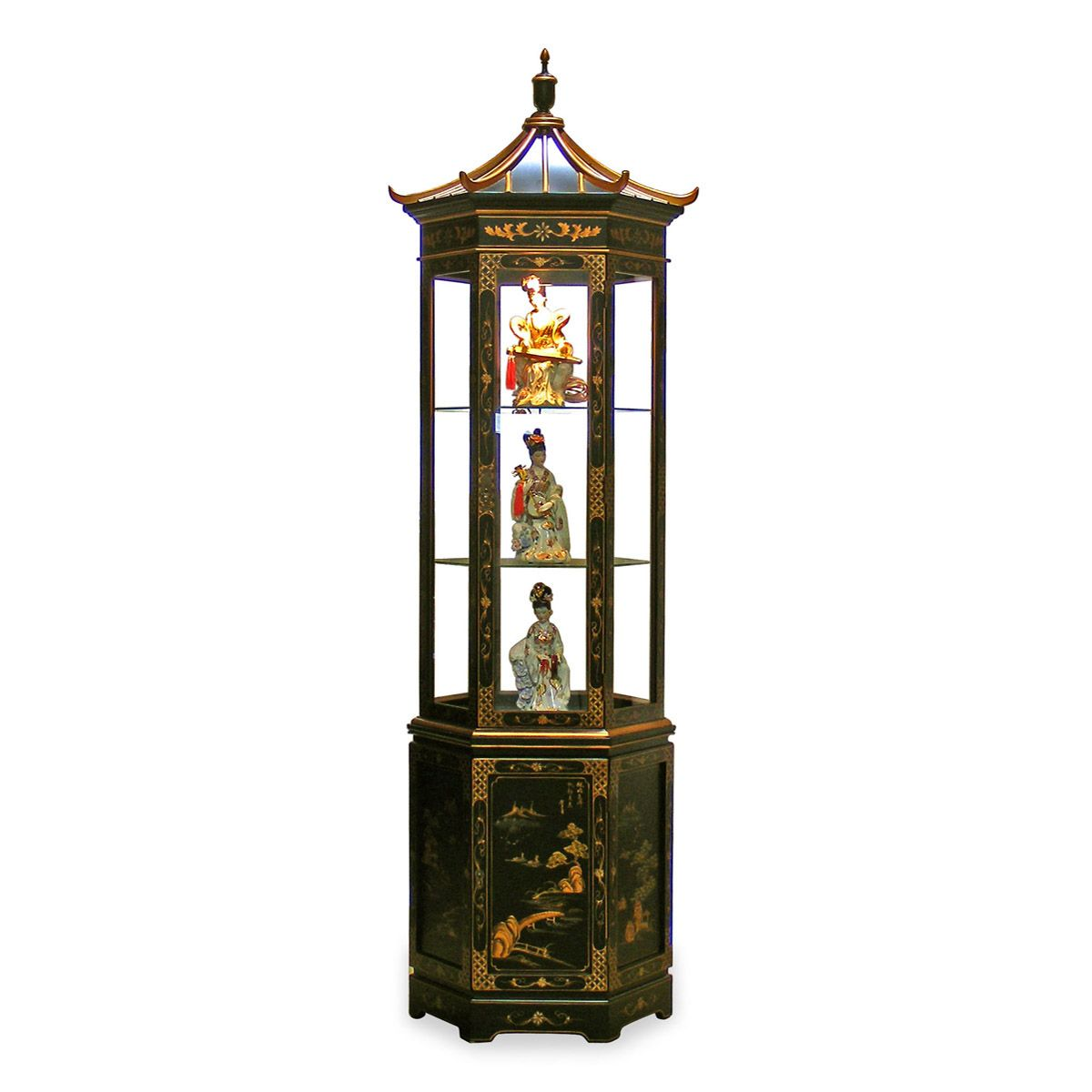 Vintage Asian Two Door Lighted Curio wBlack Lacquer Finish /& Brass Mounts