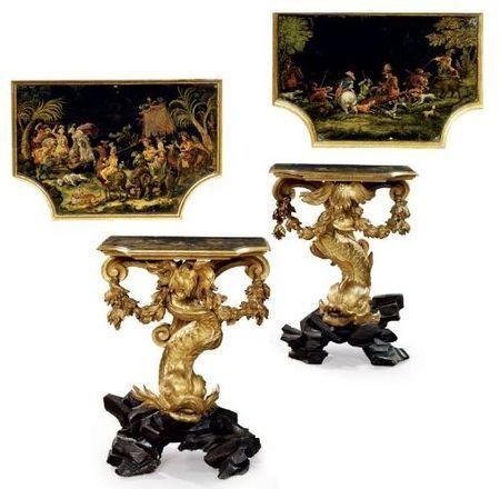 17th Century Paire De Console Italienne En Bois Dore Du Xviieme Siecle French Painted Furniture Fine Antique Furniture Gilded Furniture
