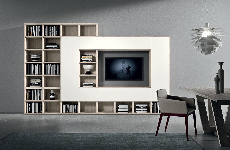 boekenkast van novamobili wandmeubel novamobili met laden en boekenkast complete wandmeubel opstelling als afgebeeld