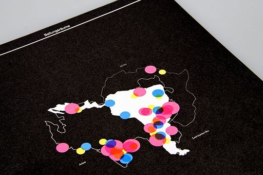 map and colourful location circles