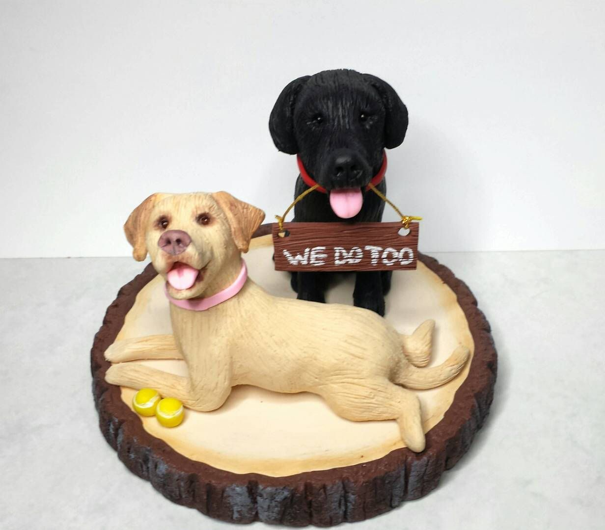 Clay Dog Cake Topper, 2 Dogs Wedding Cake Topper, Yellow Lab, Black ...