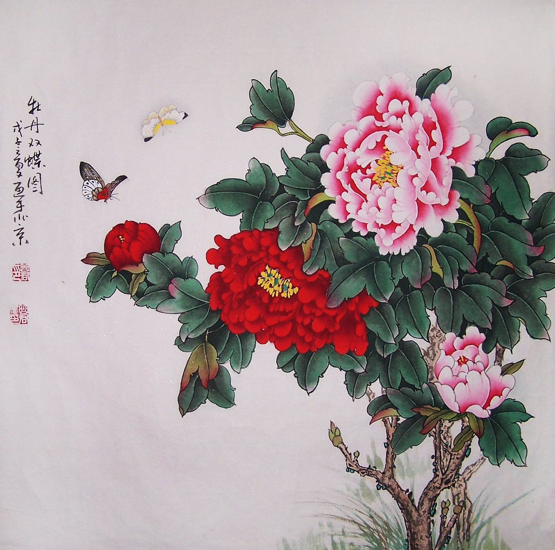 Peony Painting Chinese Painting Flower Painting Original Painting Oriental Art