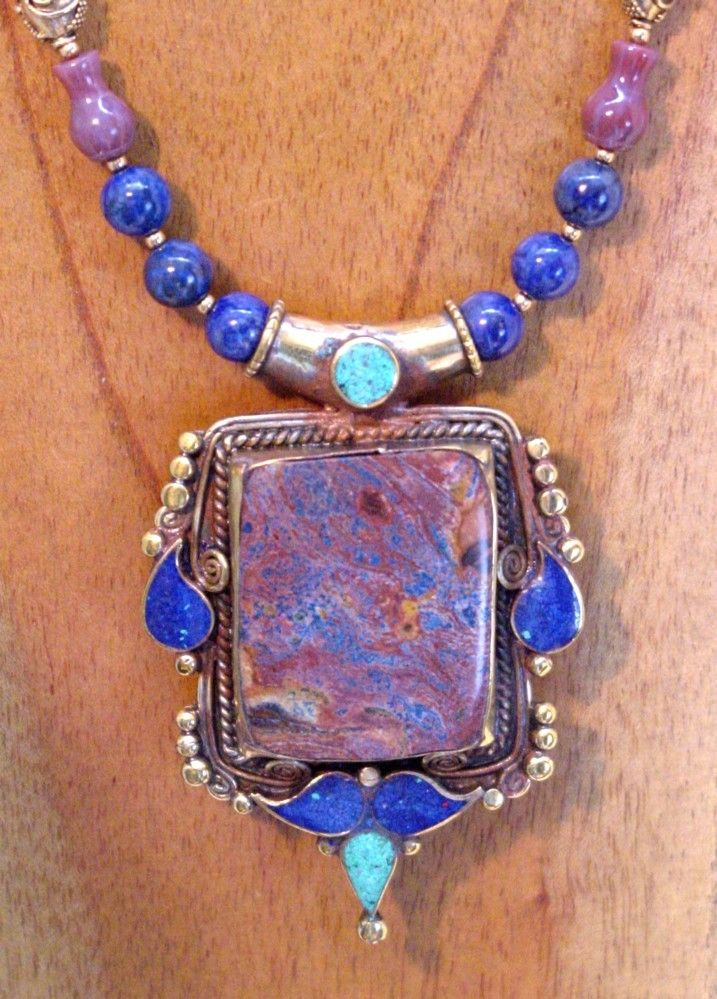 Nepalese Jasper and Lapis Lazuli pendant necklace by SilkRoadJewelry