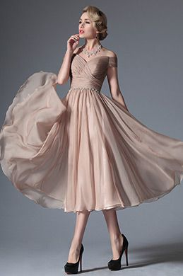 Rosy Brown Tea Length Cocktail Dress with Lace Sleeves (26160146) in ... b687bebef
