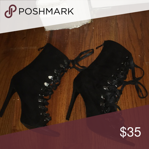 42f29a4bc12 Velvet Lace Up Heels Only worn once. bought at lola shoetique which is an  online