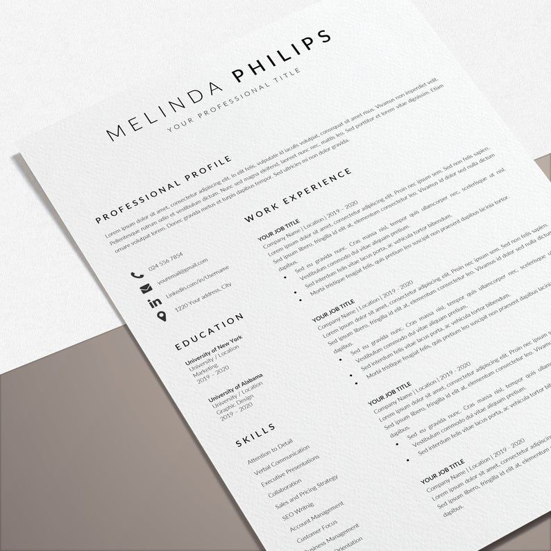 Professional Cv Template Word Resume Template Minimalist Etsy In 2021 Cv Template Word Cv Template Professional Cv Template