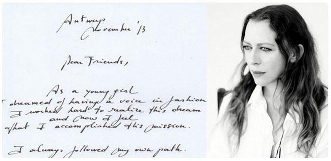 Handwritten Farewell Letter Of Ann Demeulemeester Nov