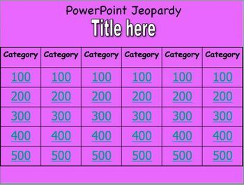 jeopardy powerpoint template with 5 or 6 categories and tutorial, Powerpoint templates