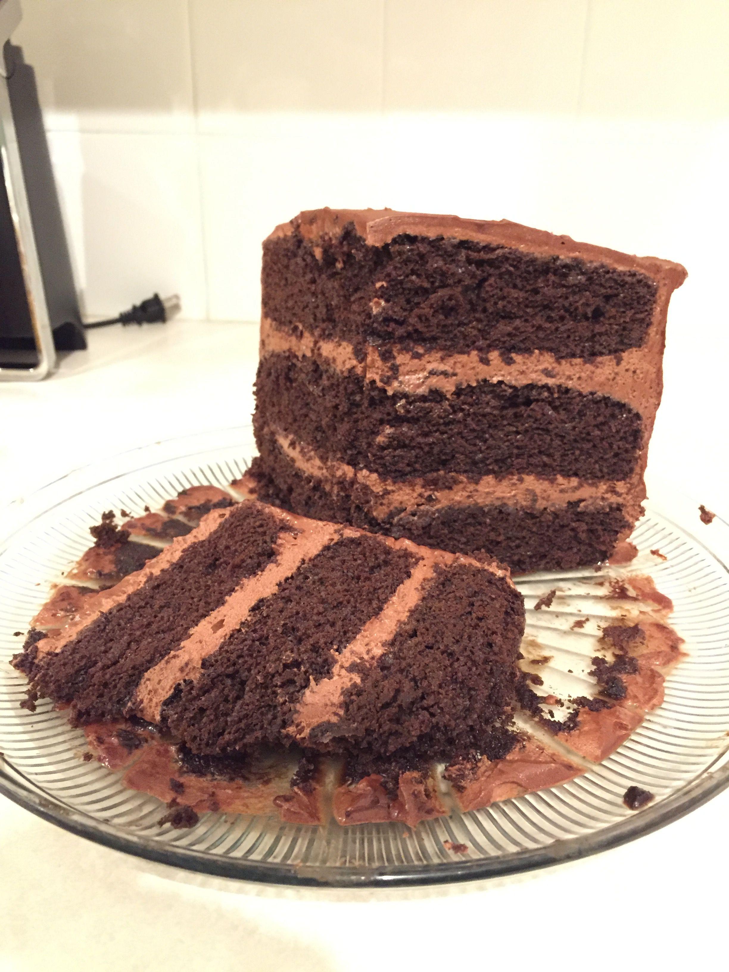 Devilishly moist cake sliced everyone loved it i used