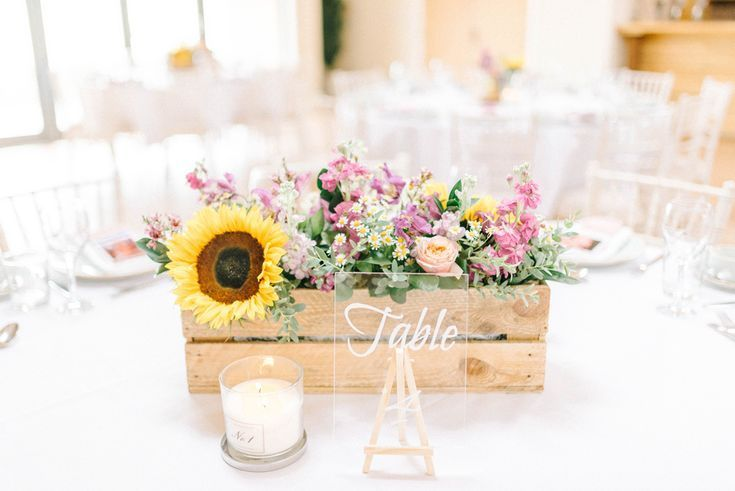 Colourful Paper Cranes & Sunflower Wedding Décor in Rustic Barn #woodenflowerboxes
