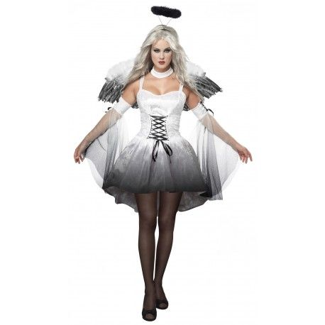 Fantasia Feminina Anjo Mal Traje Preto E Branco Halloween Carnaval Preco R 109 Fantasia De Anjo Traje De Fantasia Traje De Noiva