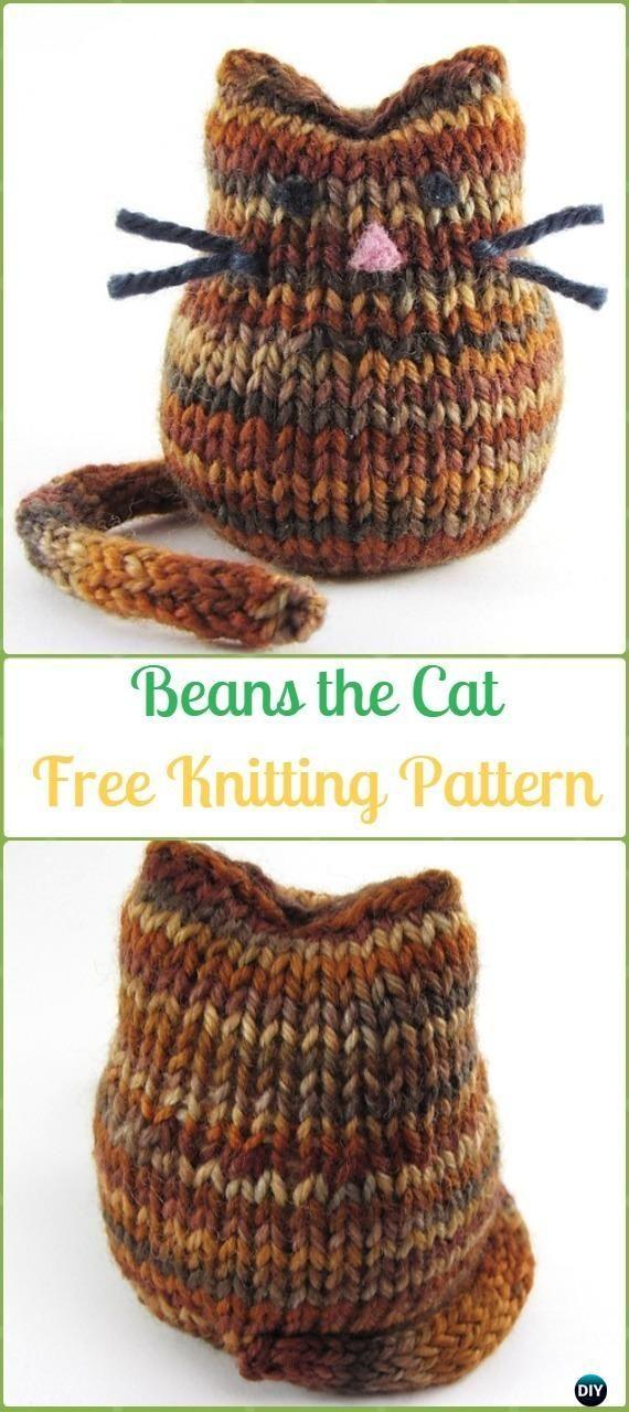Amigurumi Beans the Cat Softies Toy Free Knitting Pattern - Knit Cat ...