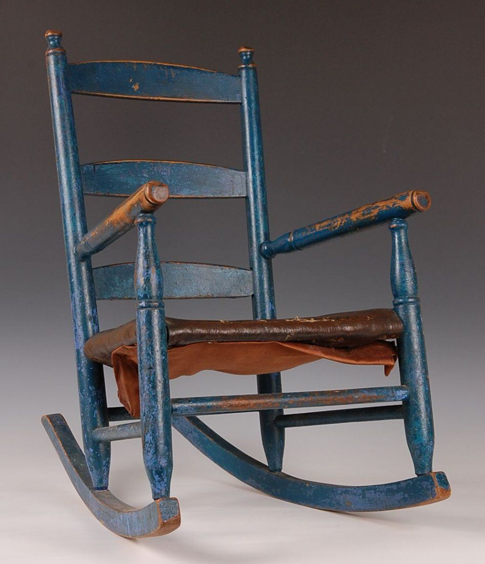 Painted ladder back chairs - Blue Painted Ladder Back Maple Child S Rocker Maybe Refinish Ours With This Color
