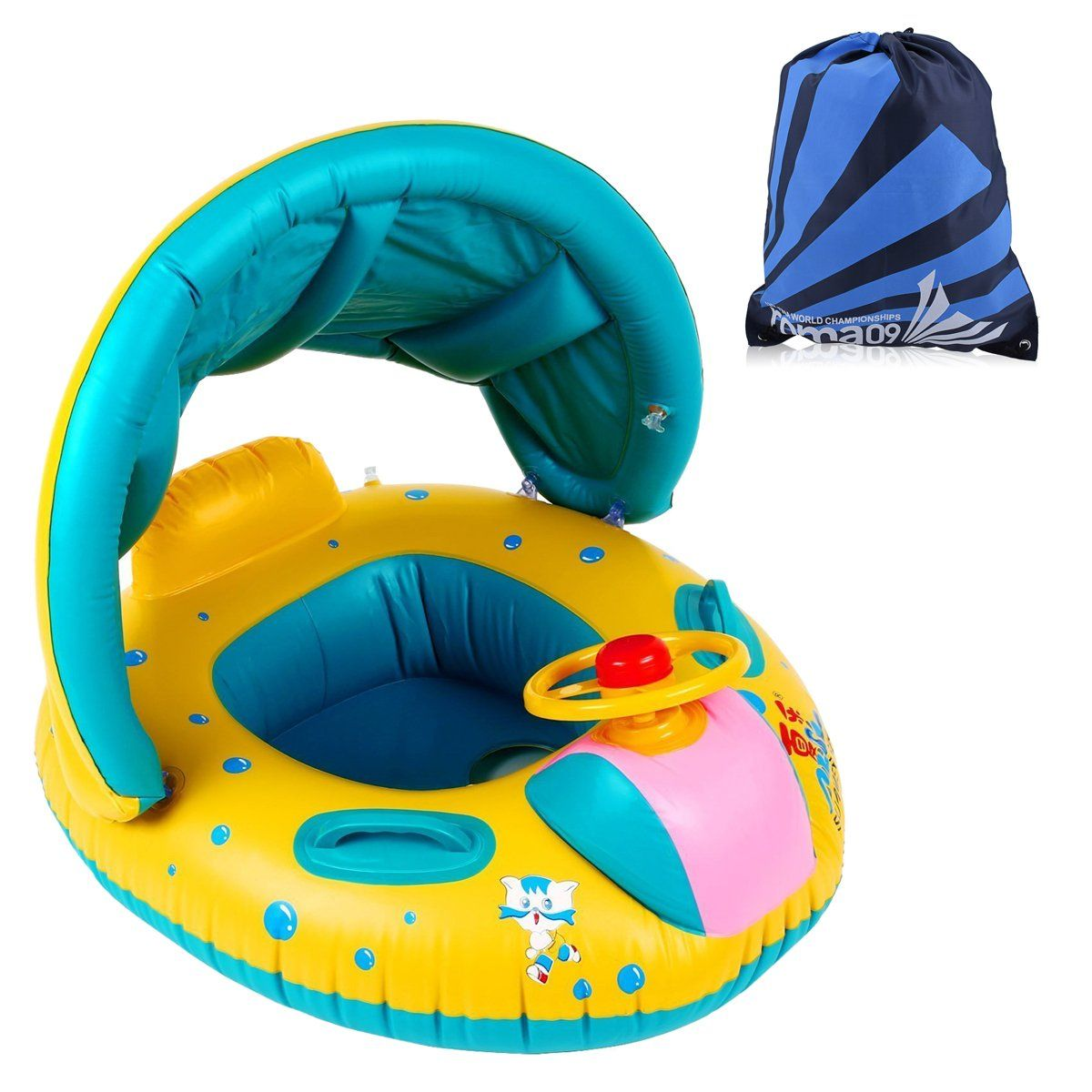 Baby Child Toddler Swimming Ring Pool Float Seat Boat Swim Bath Ring Raft Toys With Detachable Canopy And Portable Bag Toddler Swimming Portable Bag Baby Float