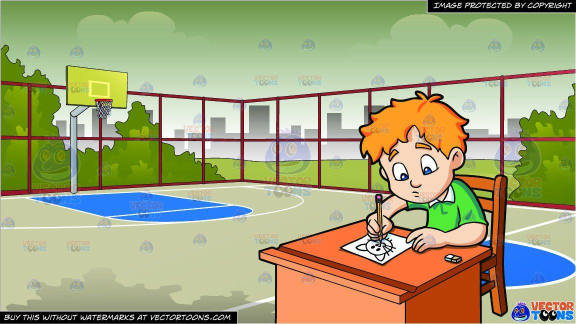 A Boy Sketching An Image Of A Cat And Outdoor Basketball Court Background Outdoor Basketball Court Kitty Images Boy Sketch
