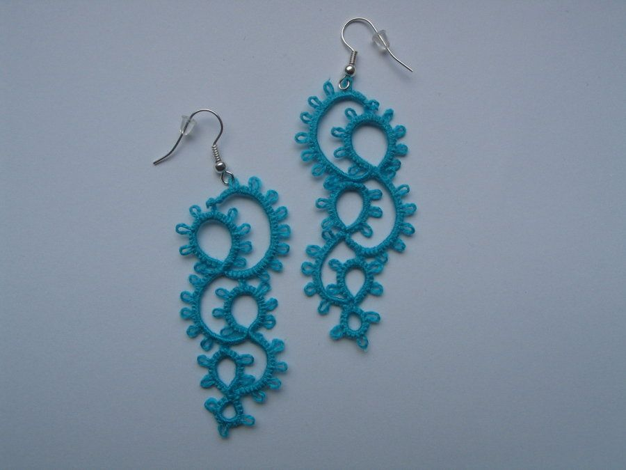 Blue Tatting Earrings By Etai93 Deviantart On Patterns Free